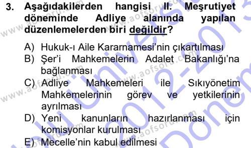 Atatürk İlkeleri Ve İnkılap Tarihi 1 Dersi 2012 - 2013 Yılı Dönem Sonu Sınavı 3. Soru
