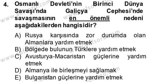 Atatürk İlkeleri Ve İnkılap Tarihi 1 Dersi 2012 - 2013 Yılı Dönem Sonu Sınavı 4. Soru