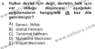 Atatürk İlkeleri Ve İnkılap Tarihi 1 Dersi 2012 - 2013 Yılı Tek Ders Sınavı 4. Soru