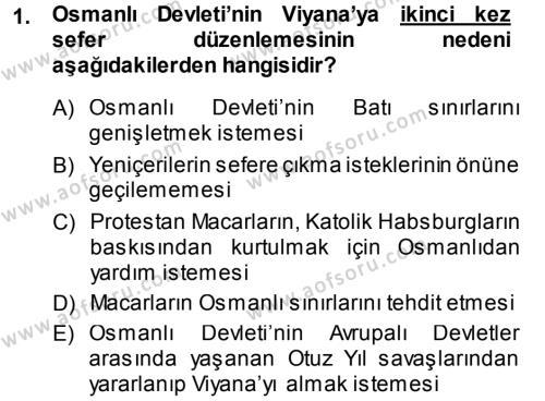 Atatürk İlkeleri Ve İnkılap Tarihi 1 Dersi 2013 - 2014 Yılı (Vize) Ara Sınavı 1. Soru
