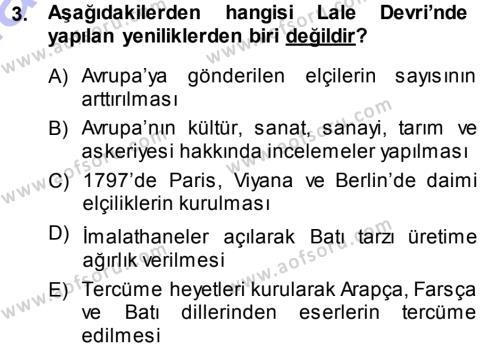 Atatürk İlkeleri Ve İnkılap Tarihi 1 Dersi 2013 - 2014 Yılı (Vize) Ara Sınavı 3. Soru