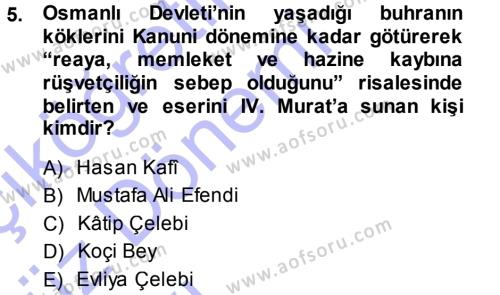 Spor Yönetimi Bölümü 3. Yarıyıl Atatürk İlkeleri Ve İnkılap Tarihi I Dersi 2014 Yılı Güz Dönemi Ara Sınavı 5. Soru