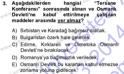 Sosyoloji Bölümü 3. Yarıyıl Atatürk İlkeleri Ve İnkılap Tarihi I Dersi 2014 Yılı Güz Dönemi Dönem Sonu Sınavı 3. Soru