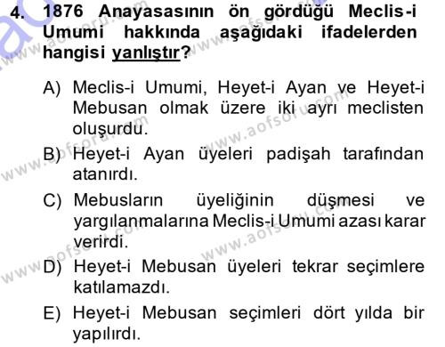 Atatürk İlkeleri Ve İnkılap Tarihi 1 Dersi 2013 - 2014 Yılı Dönem Sonu Sınavı 4. Soru