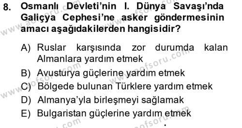 Atatürk İlkeleri Ve İnkılap Tarihi 1 Dersi Dönem Sonu Sınavı Deneme Sınav Soruları 8. Soru