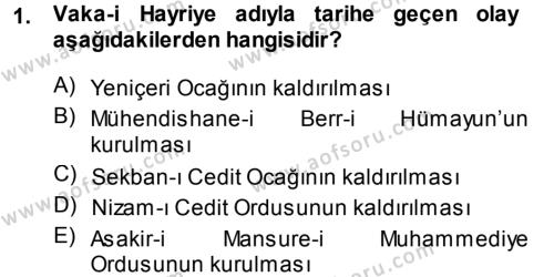 Atatürk İlkeleri Ve İnkılap Tarihi 1 Dersi 2013 - 2014 Yılı Tek Ders Sınavı 1. Soru