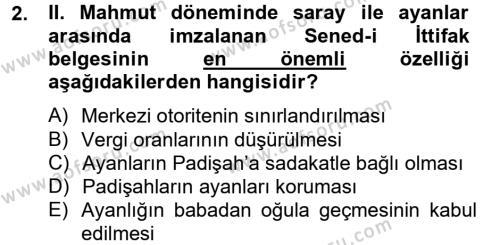 Atatürk İlkeleri Ve İnkılap Tarihi 1 Dersi 2013 - 2014 Yılı Tek Ders Sınavı 2. Soru