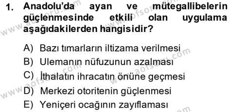 Atatürk İlkeleri Ve İnkılap Tarihi 1 Dersi 2014 - 2015 Yılı Ara Sınavı 1. Soru