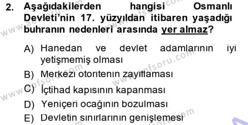 Atatürk İlkeleri Ve İnkılap Tarihi 1 Dersi 2014 - 2015 Yılı Ara Sınavı 2. Soru