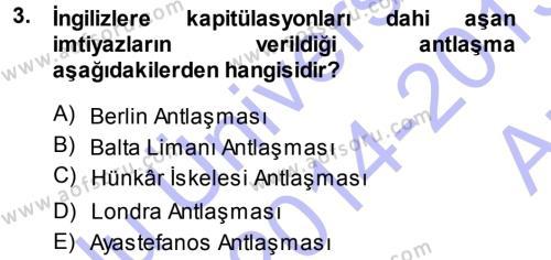 Sosyoloji Bölümü 3. Yarıyıl Atatürk İlkeleri Ve İnkılap Tarihi I Dersi 2015 Yılı Güz Dönemi Ara Sınavı 3. Soru