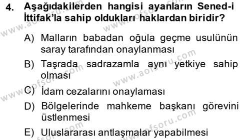 Atatürk İlkeleri Ve İnkılap Tarihi 1 Dersi 2014 - 2015 Yılı Ara Sınavı 4. Soru