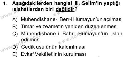 Atatürk İlkeleri Ve İnkılap Tarihi 1 Dersi 2014 - 2015 Yılı (Final) Dönem Sonu Sınav Soruları 1. Soru