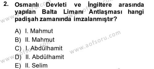 Maliye Bölümü 3. Yarıyıl Atatürk İlkeleri Ve İnkılap Tarihi I Dersi 2015 Yılı Güz Dönemi Dönem Sonu Sınavı 2. Soru
