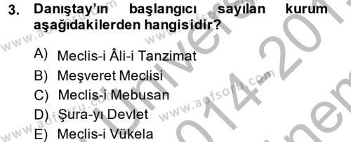 Atatürk İlkeleri Ve İnkılap Tarihi 1 Dersi 2014 - 2015 Yılı Dönem Sonu Sınavı 3. Soru