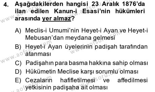 İktisat Bölümü 3. Yarıyıl Atatürk İlkeleri Ve İnkılap Tarihi I Dersi 2015 Yılı Güz Dönemi Dönem Sonu Sınavı 4. Soru