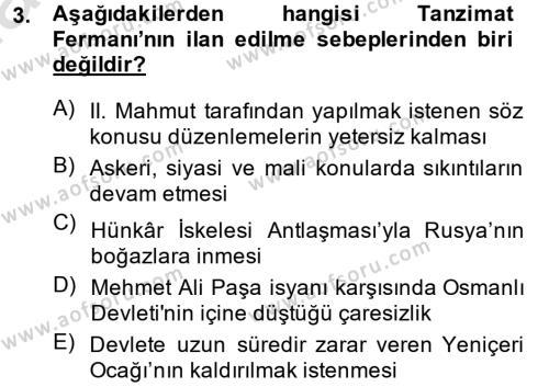 Atatürk İlkeleri Ve İnkılap Tarihi 1 Dersi 2014 - 2015 Yılı Tek Ders Sınavı 3. Soru