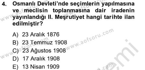 Atatürk İlkeleri Ve İnkılap Tarihi 1 Dersi 2014 - 2015 Yılı Tek Ders Sınavı 4. Soru