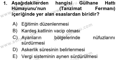 Atatürk İlkeleri Ve İnkılap Tarihi 1 Dersi 2015 - 2016 Yılı Ara Sınavı 1. Soru