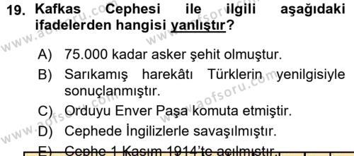 Atatürk İlkeleri Ve İnkılap Tarihi 1 Dersi 2015 - 2016 Yılı (Vize) Ara Sınavı 19. Soru