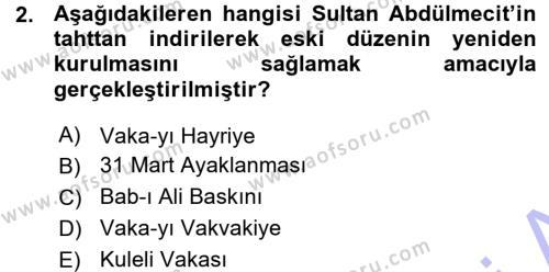 Atatürk İlkeleri Ve İnkılap Tarihi 1 Dersi 2015 - 2016 Yılı Ara Sınavı 2. Soru