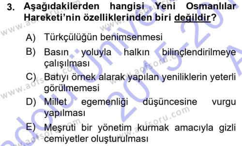 Özel Güvenlik ve Koruma Bölümü 3. Yarıyıl Atatürk İlkeleri Ve İnkılap Tarihi I Dersi 2016 Yılı Güz Dönemi Ara Sınavı 3. Soru