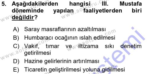 İşletme Yönetimi Bölümü 3. Yarıyıl Atatürk İlkeleri Ve İnkılap Tarihi I Dersi 2016 Yılı Güz Dönemi Ara Sınavı 5. Soru
