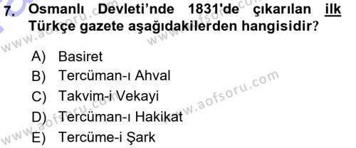 Atatürk İlkeleri Ve İnkılap Tarihi 1 Dersi 2015 - 2016 Yılı (Vize) Ara Sınavı 7. Soru