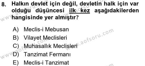 Atatürk İlkeleri Ve İnkılap Tarihi 1 Dersi 2015 - 2016 Yılı (Vize) Ara Sınavı 8. Soru