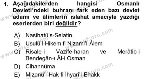 Atatürk İlkeleri Ve İnkılap Tarihi 1 Dersi 2015 - 2016 Yılı Dönem Sonu Sınavı 1. Soru