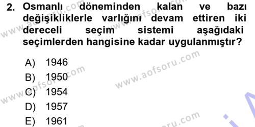 Atatürk İlkeleri Ve İnkılap Tarihi 1 Dersi 2015 - 2016 Yılı Dönem Sonu Sınavı 2. Soru