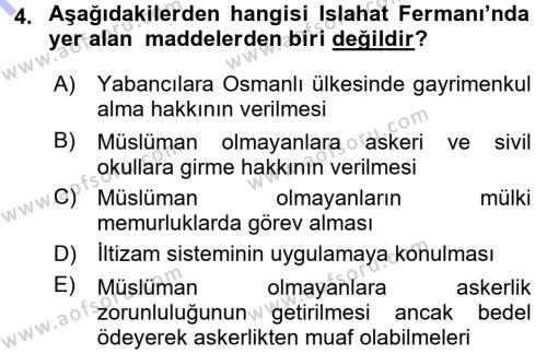 Sosyal Hizmetler Bölümü 3. Yarıyıl Atatürk İlkeleri Ve İnkılap Tarihi I Dersi 2016 Yılı Güz Dönemi Dönem Sonu Sınavı 4. Soru