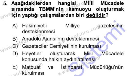 Spor Yönetimi Bölümü 3. Yarıyıl Atatürk İlkeleri Ve İnkılap Tarihi I Dersi 2016 Yılı Güz Dönemi Dönem Sonu Sınavı 5. Soru