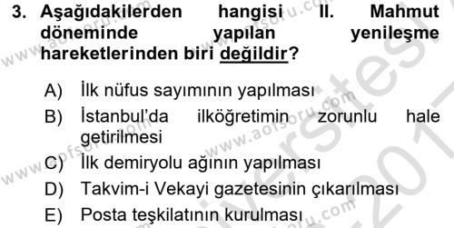 Atatürk İlkeleri Ve İnkılap Tarihi 1 Dersi 2016 - 2017 Yılı (Vize) Ara Sınavı 3. Soru