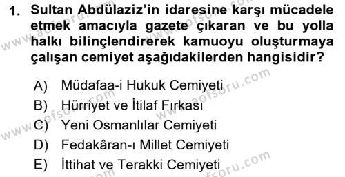 Atatürk İlkeleri Ve İnkılap Tarihi 1 Dersi 2016 - 2017 Yılı (Final) Dönem Sonu Sınavı 1. Soru