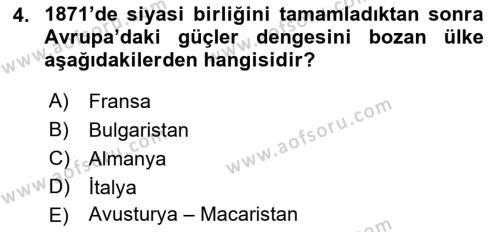 Atatürk İlkeleri Ve İnkılap Tarihi 1 Dersi 2016 - 2017 Yılı (Final) Dönem Sonu Sınavı 4. Soru