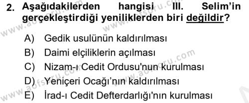 Atatürk İlkeleri Ve İnkılap Tarihi 1 Dersi 2017 - 2018 Yılı 3 Ders Sınavı 2. Soru
