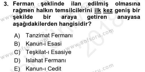 Atatürk İlkeleri Ve İnkılap Tarihi 1 Dersi 2017 - 2018 Yılı 3 Ders Sınavı 3. Soru