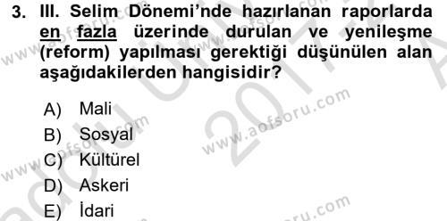 Atatürk İlkeleri Ve İnkılap Tarihi 1 Dersi 2017 - 2018 Yılı (Vize) Ara Sınavı 3. Soru