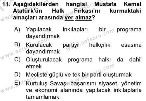 Atatürk İlkeleri Ve İnkılap Tarihi 1 Dersi 2018 - 2019 Yılı 3 Ders Sınavı 11. Soru 1. Soru