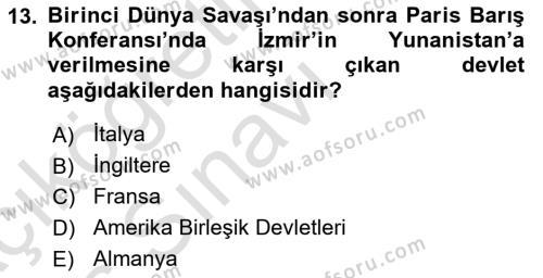 Atatürk İlkeleri Ve İnkılap Tarihi 1 Dersi 2018 - 2019 Yılı 3 Ders Sınavı 13. Soru 1. Soru
