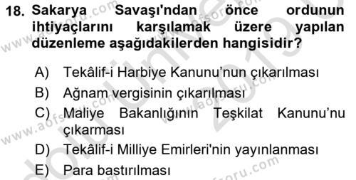 Atatürk İlkeleri Ve İnkılap Tarihi 1 Dersi 2018 - 2019 Yılı 3 Ders Sınavı 18. Soru 1. Soru