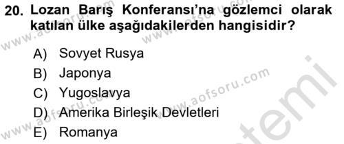 Atatürk İlkeleri Ve İnkılap Tarihi 1 Dersi 2018 - 2019 Yılı 3 Ders Sınavı 20. Soru 1. Soru
