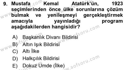 Atatürk İlkeleri Ve İnkılap Tarihi 1 Dersi 2018 - 2019 Yılı 3 Ders Sınavı 9. Soru 1. Soru