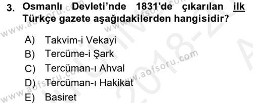 Atatürk İlkeleri Ve İnkılap Tarihi 1 Dersi 2018 - 2019 Yılı (Vize) Ara Sınav Soruları 3. Soru