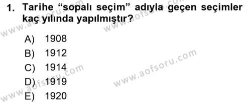 Atatürk İlkeleri Ve İnkılap Tarihi 1 Dersi 2018 - 2019 Yılı (Final) Dönem Sonu Sınavı 1. Soru