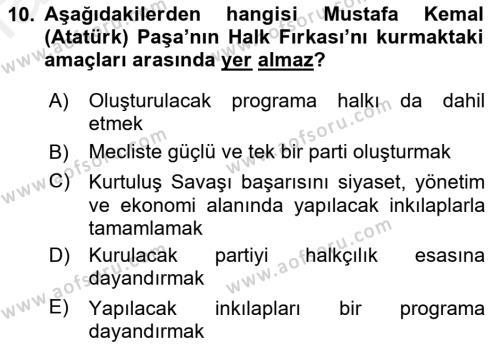 Atatürk İlkeleri Ve İnkılap Tarihi 1 Dersi Dönem Sonu Sınavı Deneme Sınav Soruları 10. Soru