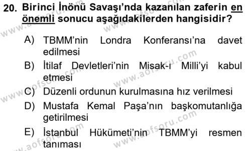 Atatürk İlkeleri Ve İnkılap Tarihi 1 Dersi Dönem Sonu Sınavı Deneme Sınav Soruları 20. Soru