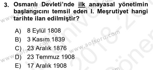 Atatürk İlkeleri Ve İnkılap Tarihi 1 Dersi 2018 - 2019 Yılı (Final) Dönem Sonu Sınavı 3. Soru