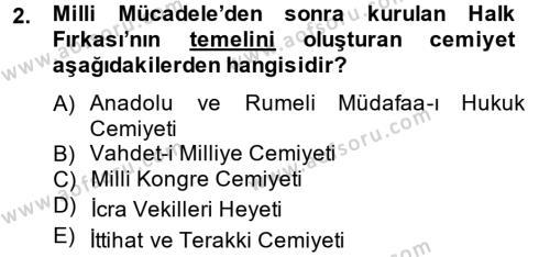 Atatürk İlkeleri Ve İnkılap Tarihi 2 Dersi 2012 - 2013 Yılı Ara Sınavı 2. Soru