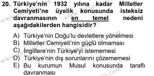 Atatürk İlkeleri Ve İnkılap Tarihi 2 Dersi Ara Sınavı Deneme Sınav Soruları 20. Soru